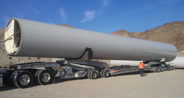 110 ft. wind tower section on a Cozad 9-axle trailer