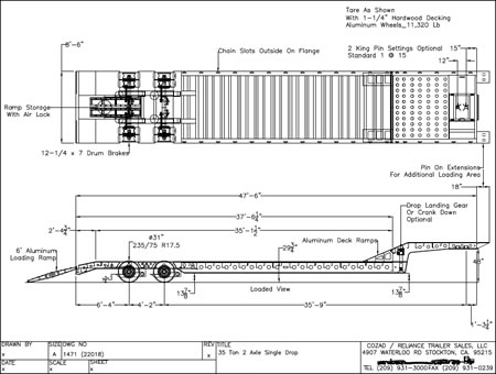 35 Ton Air Ride Beaver Tail Trailer Line Drawing