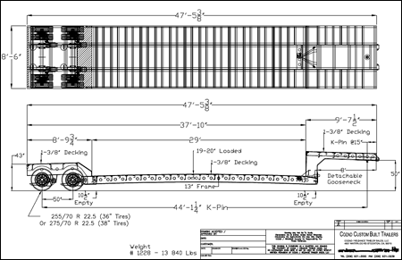35 Ton Air Ride Double Drop Removable Gooseneck Line Drawing