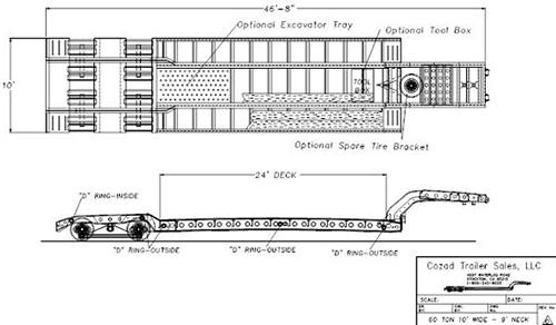 60 Ton 10 Foot Wide Trailer Drawing