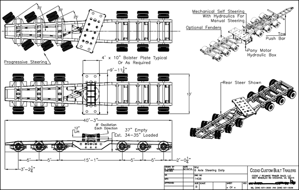 Cozad 60 Ton 6-Axle Steering Dolly Line Drawing