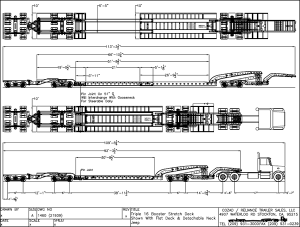 Cozad 80-85 Ton 9-Axle Stretch Deck Booster Trailer Line Drawing