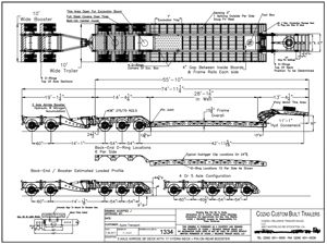 Cozad 60 Ton 3+2 28' Deck 11' Hydra Neck with 2 Axle Booster Line Drawing